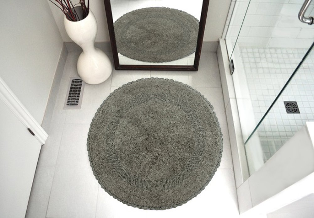 Saffron Fabs Bath Rug 100% Soft Cotton 36 Inch Round, Reversible-Different Pattern On Both Sides, Solid Grey Color, Hand Knitted Crochet Lace Border, Hand Tufted, 200 GSF Weight, Machine Washable
