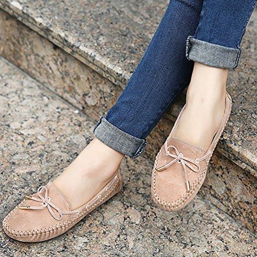 Baymate Mujer Comodidad Mocasines Piso Zapatos de Conducción con Bowknot Albaricoque