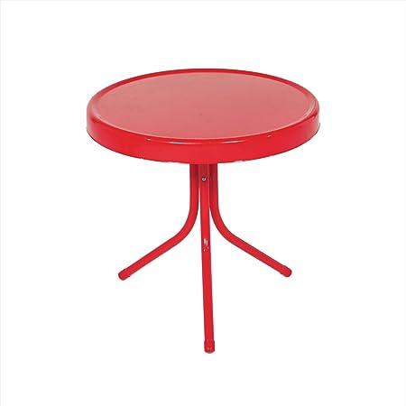 LB International Outdoor Retro Metal Tulip Side Table, Red