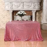 3E Home 50x50'' Square Sequin TableCloth for Party Cake Dessert Table Exhibition Events, Fuchsia Pink