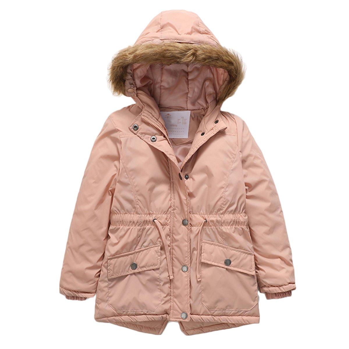 PHIBEE Girls' Cotton Winter Windproof Faux Fur Hooded Parka Jacket Pink 6