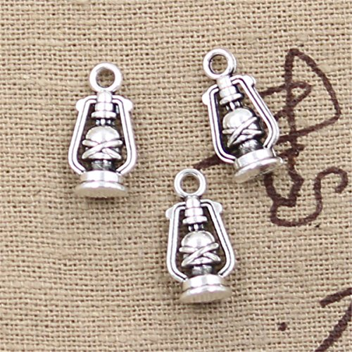 40pcs Charms ancient oil lamp 16x8x6mm Antique Making Vintage Tibetan Silver Zinc Alloy Pendant40pcs Charms ancient oil lamp Antique Silver Charms Pendants for Making Bracelet Necklace Jewelry Finding ()