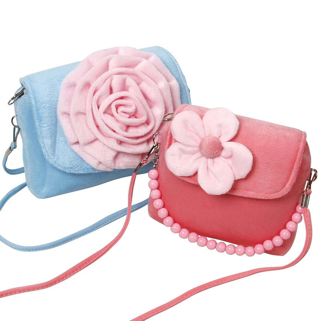 Bundle Monster Cute 2pc Little Girls Fashionable Fun Fuzzy Floral Handbag Set