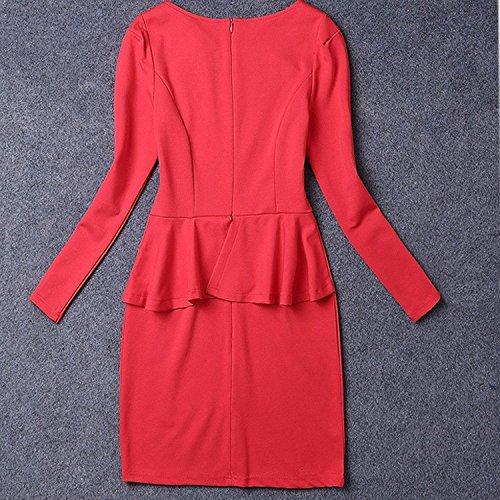 Minetom Mujer Elegante A-Line Vestidos Moda Mangas Largas Vestido Delgado Ol Vestir Rojo