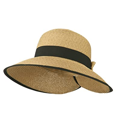 103e0fbbd07 Tweed Bow 3 1 2 Inch Wide Brim Straw Hat - Brown -  Amazon.co.uk ...