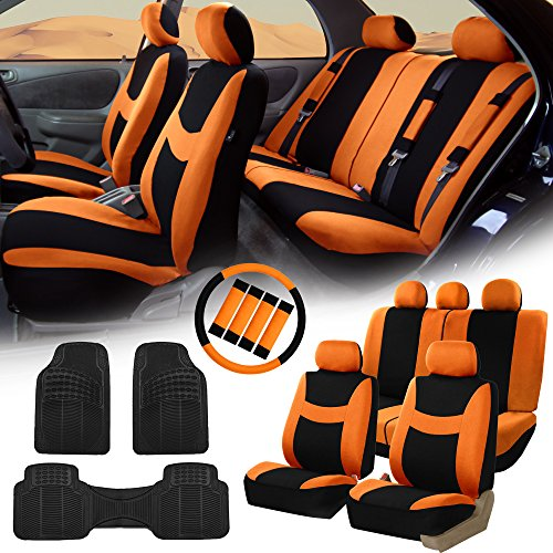 FH Group FH-FB030115 Light & Breezy Cloth Seat Covers, Airbag & Split Ready Orange/Black Combo Set: Steering Wheel Cover, Seat Belt Pads and F11306 Vinyl Floor Mats-Fit Most Car, Truck, SUV, or Van