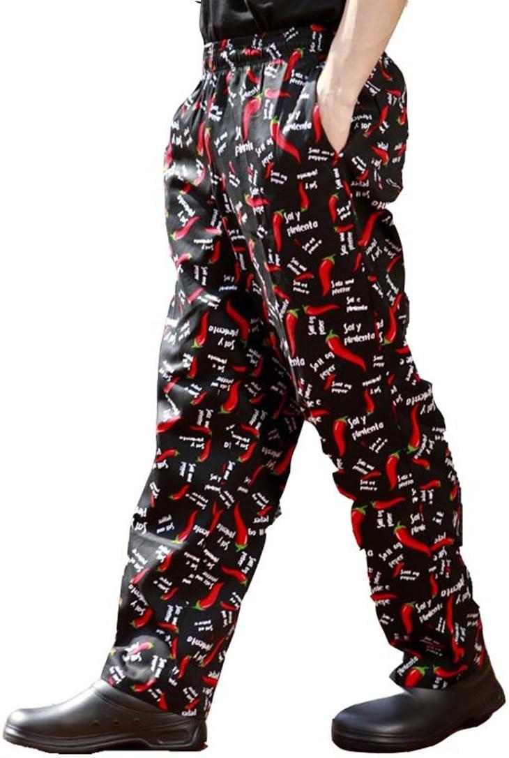 Pantaloni da chef con stampe di peperoncini neri e rossi  820217 UK: XXS 6 taglie disponibili Black and red little chili Label size: S