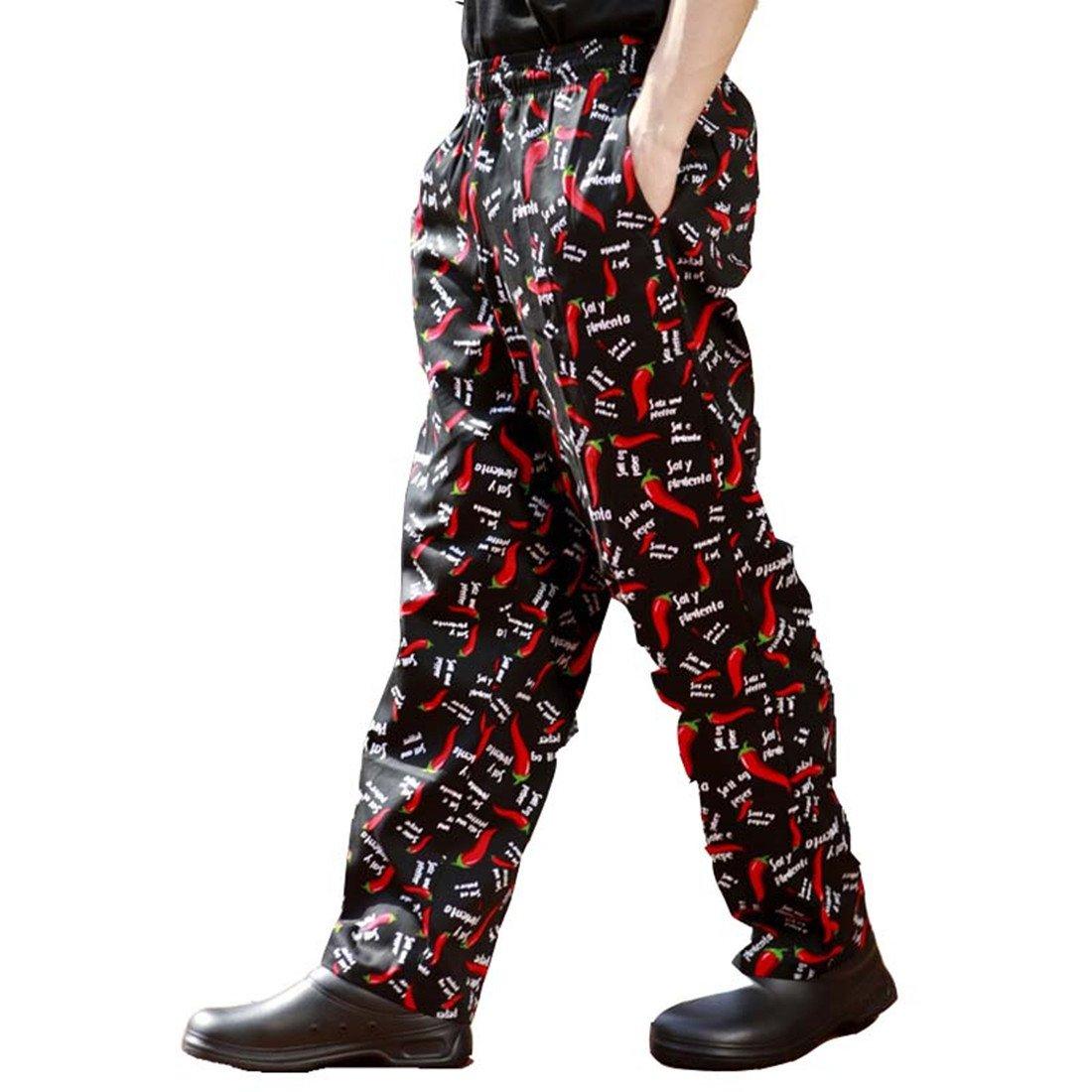 Pantaloni da chef con stampe di peperoncini neri e rossi 820217 (6 taglie disponibili) Chili XXX-Large