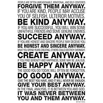 Amazon mother teresa anyway quote poster 13 x 19in prints mother teresa anyway quote poster 13 x 19in thecheapjerseys Gallery