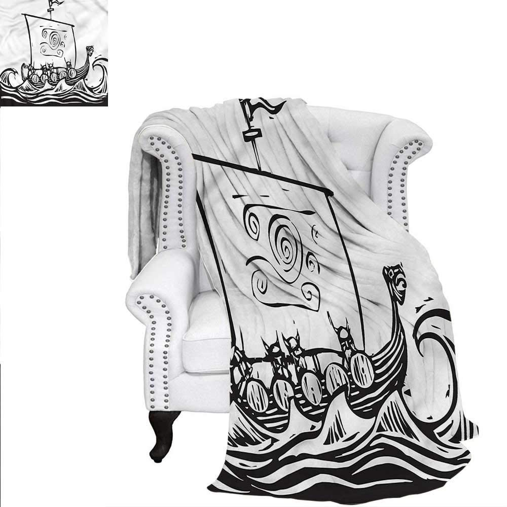 ALLMILL Viking Throw Blanket Long Boat on a Quest Sketch Warm Microfiber All Season Blanket for Bed or Couch 80'x60'