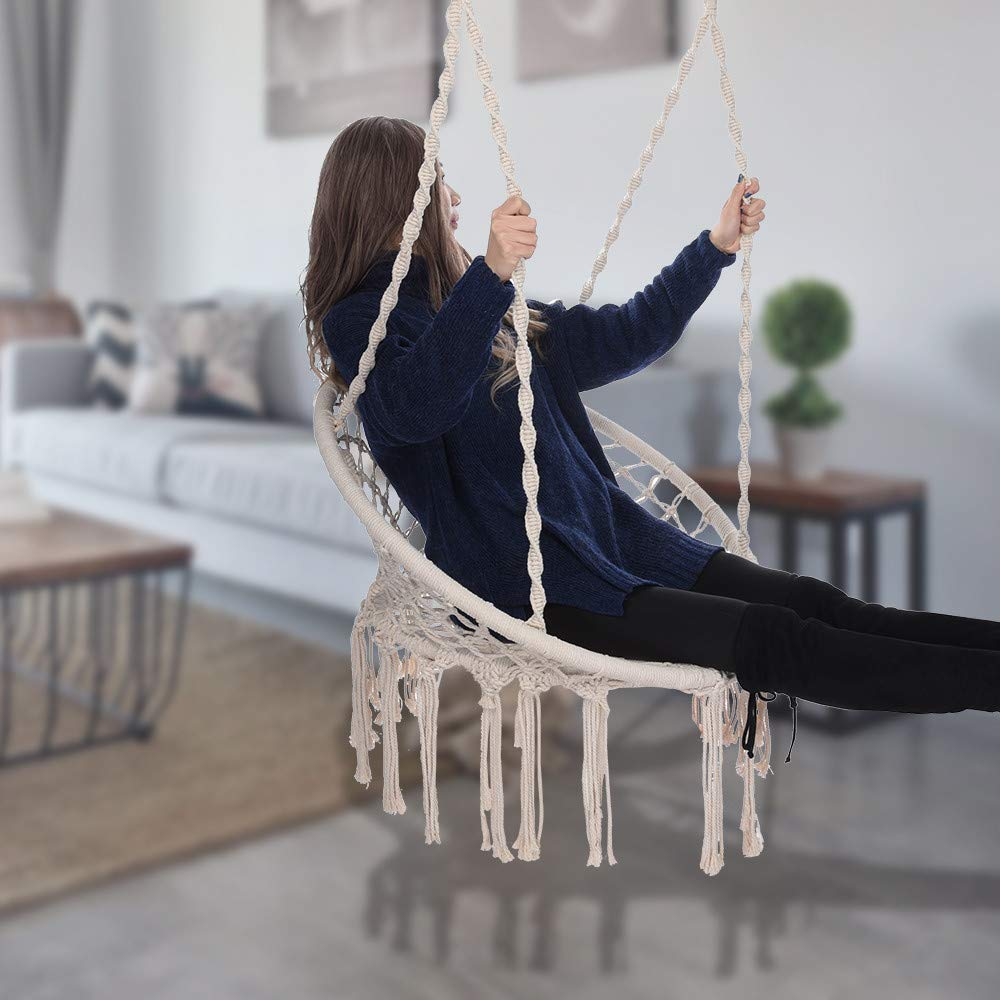 Hammock Chair - Macrame Swing 330 Pound Capacity Handmade Hanging Swing Chair Prefect for Indoor/Outdoor Home Patio Deck Yard Garden Reading Leisure (White) by Hunzed Home & Kitchen (Image #3)