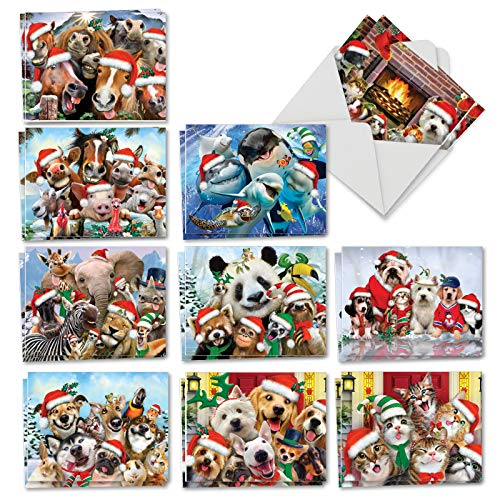 Merry Christmas to Zoo - 20 Adorable Kids Merry Christmas Cards with Envelopes (4 x 5.12 Inch) - Cute Zoo, Ocean, and Pet Animals - Assorted Boxed Greetings (10 Designs, 2 Each) AM6652XSG-B2x10 (For Cards Business Personalised Christmas)