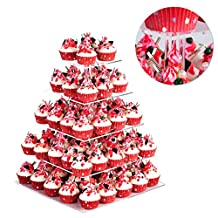 SortWise ® 5 Tier Maypole Square Wedding Party Tree Tower Acrylic Cupcake Display Stand ( Also can use as 1 2 3 4 Tier)