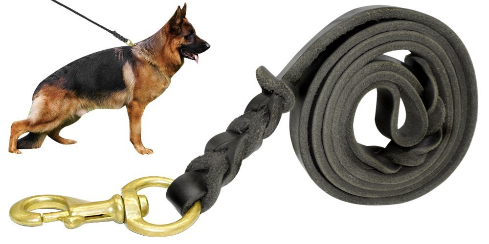 Beirui Leather Dog Leash - Training & Walking Braided Dog Leash - 3.6 ft by 3/4 in (110cm 1.8cm) - Latigo Leather Black