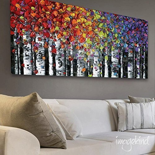 Captivating Abstract Art Print Wall Art Birch Trees Landscape Colorful Wall Decor Aspen  Canvas PRINT Modern Art