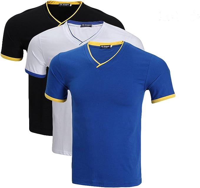 LEOCLOTHO T Shirt Homme Col en V Coton Manches Courtes Couleur Unie (Lot de 345)
