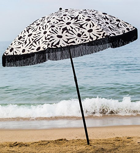 Beach Umbrella, Laguna with Fringe, Designed by Beach Brella – 100% UV Sun Protection, Lightweight, Portable & easy to setup in the Sand and secure in the Wind (Lights Brella)