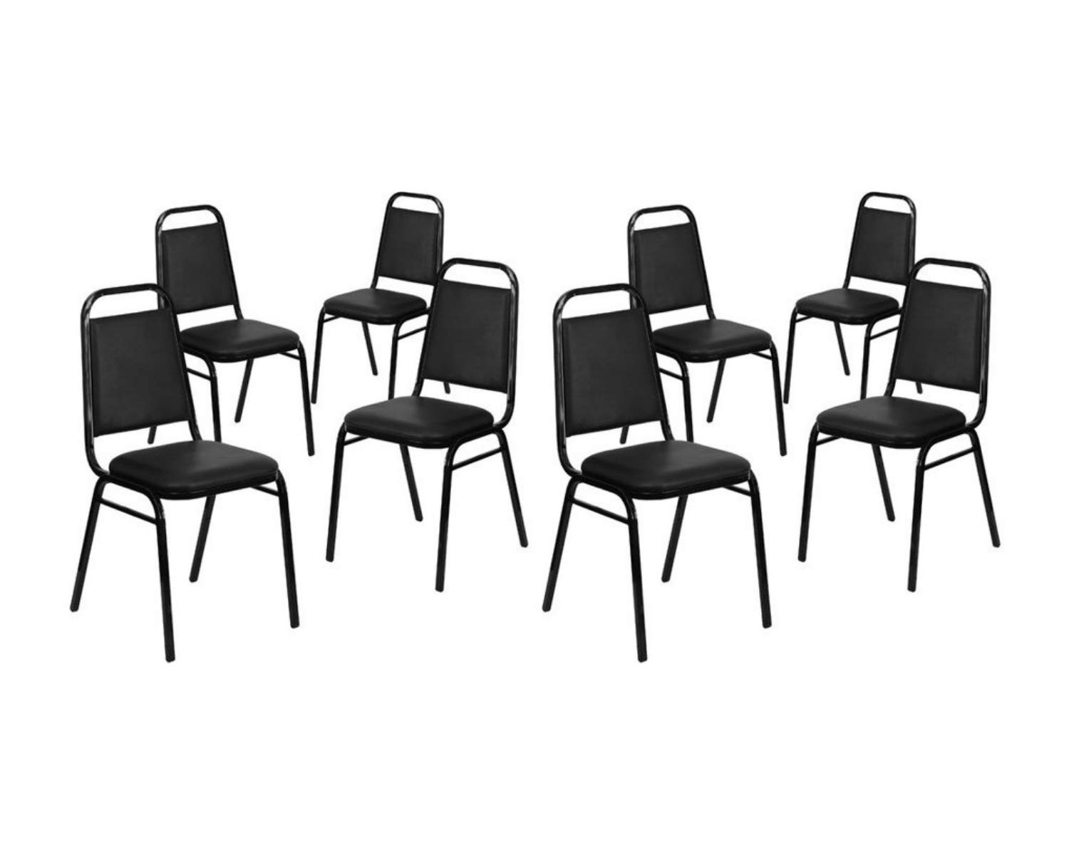 Flash Furniture. Hercules Series Trapezoidal Back Stacking Banquet Chair in Black Vinyl - Black Frame - 4-FD-BHF-2-GG (8 Pack, Black Vinyl/Black Frame)