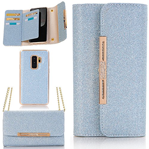 Price comparison product image Galaxy S9 Wallet Phone Case, Vacio Women Elegant Stylish Candy Colour Bling Shiny PU Leather Flip Lady Multi Envelope Wristlet HandBag Clutch Wallet Case for Samsung Galaxy S9 (Blue)