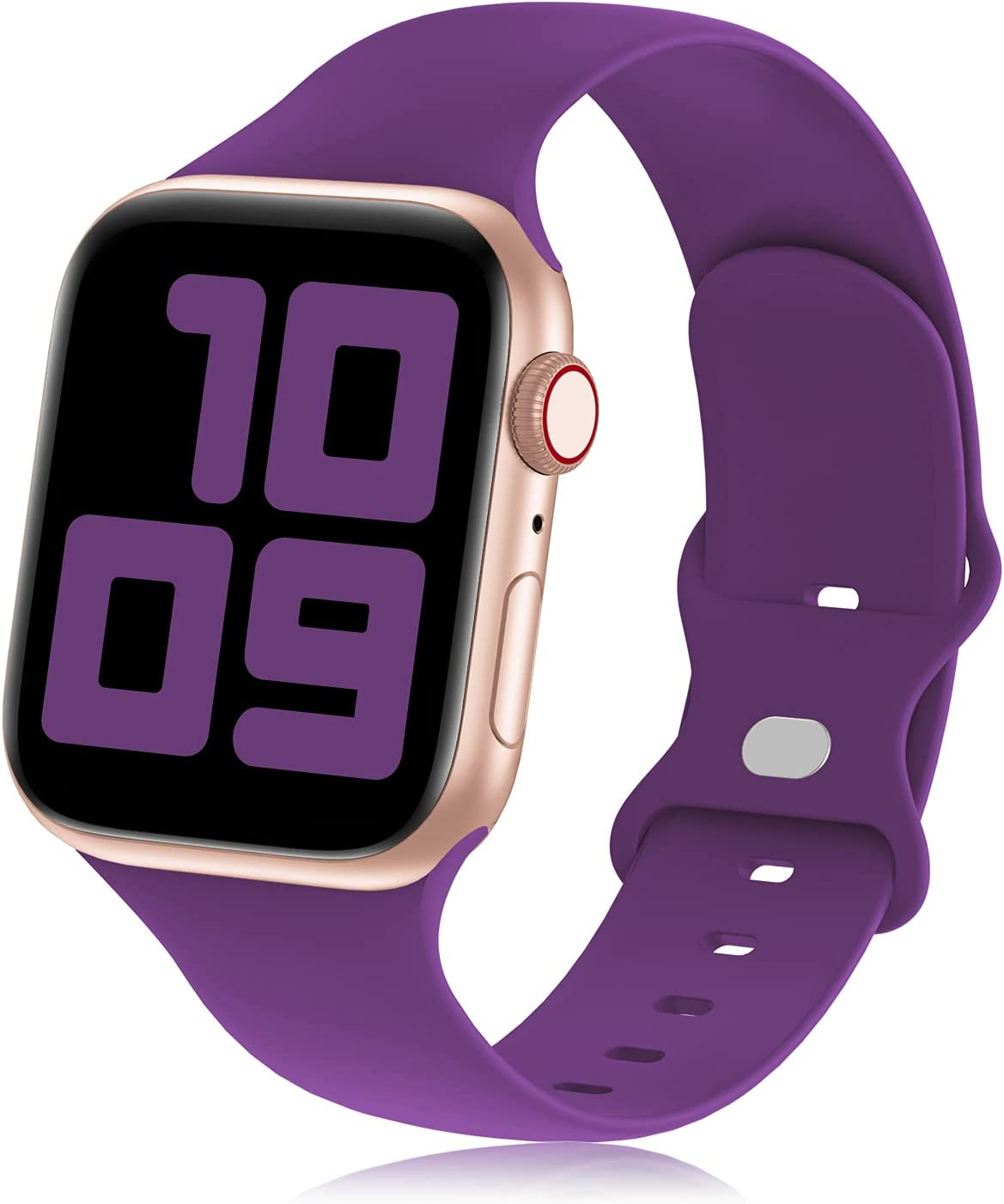 Hehighti Compatible with Apple Watch Bands 38mm 40mm 42mm 44mm, Soft Silicone Sport Wristbands Replacement Strap for iwatch bands watch SE/Series 6/5/4/3/2/1,Deep purple