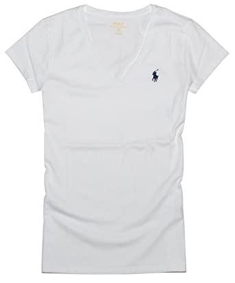 official photos 5c804 3b05b Polo Ralph Lauren Frauen Cotton V-neck Logo Tee (M, Weiß ...