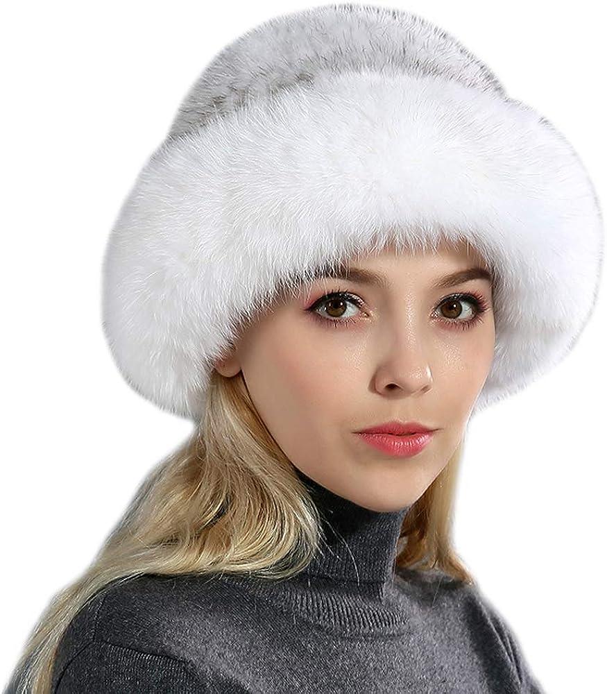 URSFUR Chapeau Melon En Fourrure De Renard Femme Bonnet Fourrure Hiver