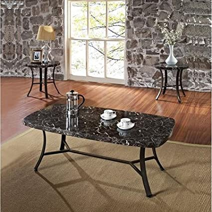 Etonnant Daisy Faux Marble 3 Piece Coffee And End Table Set, Black