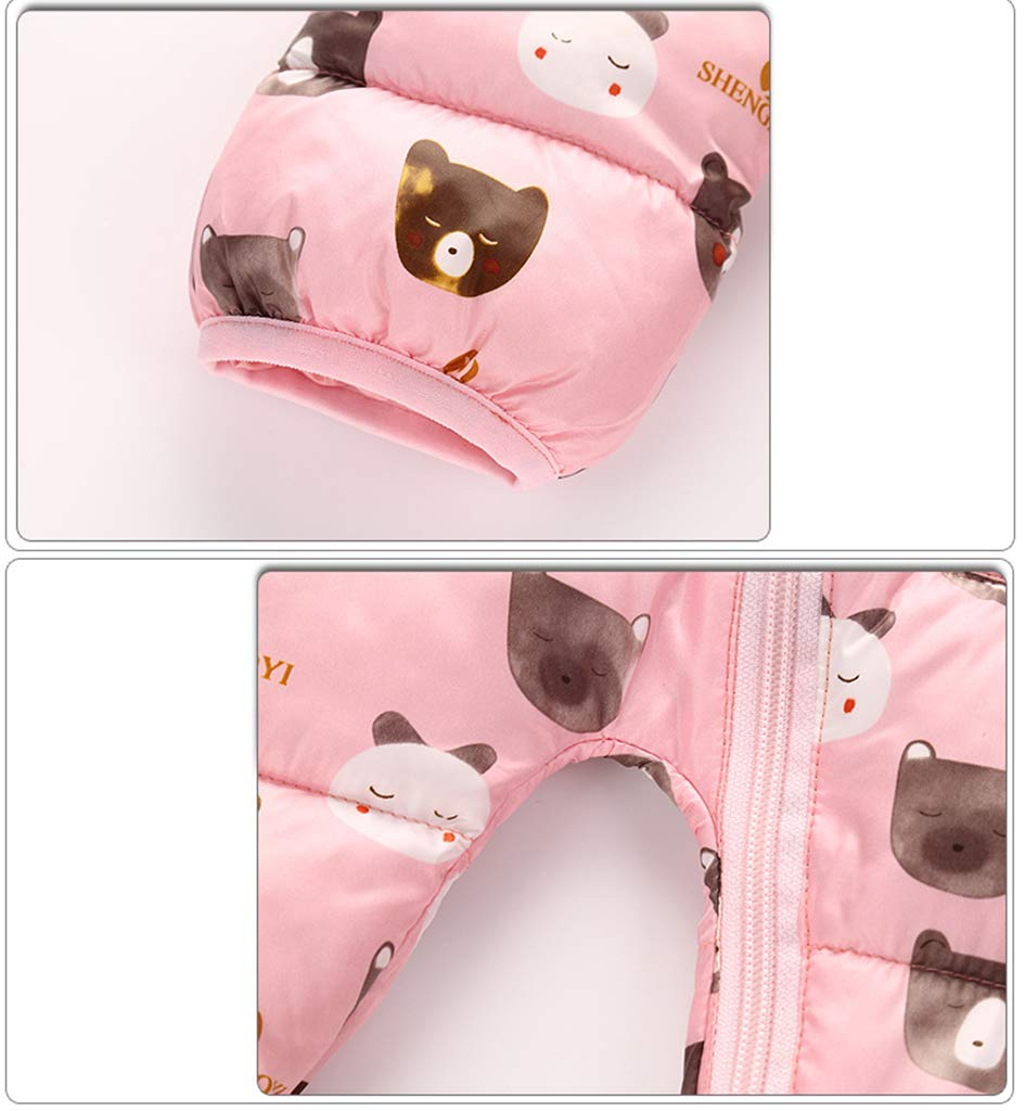 Baby Snowsuit Hoodie Romper Winter Jumpsuit Thicken Onesies All-in-One Zipper Outwear Pink