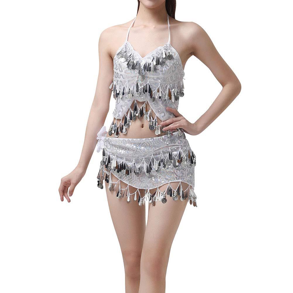Gyratedream Belly Dance Costume Women Halter Neck Bra Top Belly Dancing Hip Scarf Skirt