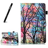 for Kindle Fire HD8 8 inch 2016/2017 Tablet Leather Case, Slynmax Flip Folio Notebook Cover Bookstyle Premium Soft PU Leather Wallet Case Embossed Maple Leaf Color Tree Design