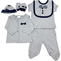 Baby Organic (GOTS Certified) Pants and Top Set (Grey 6 Pieces) - 100% Cotton