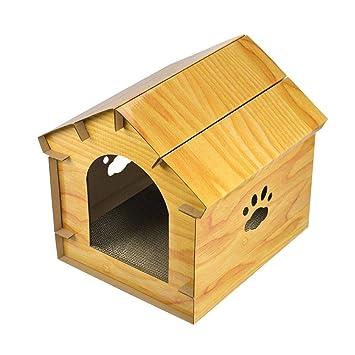 Ksruee Cama para Mascotas Madera granulada simulada Casa de Gato Papel Corrugado con Tabla para rascar el Gato Suministros para Mascotas Gato Shelter: ...