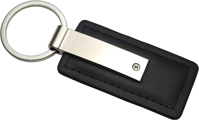 Volvo Genuine Black Leather Rectangular Silver Logo Key Chain Fob Ring