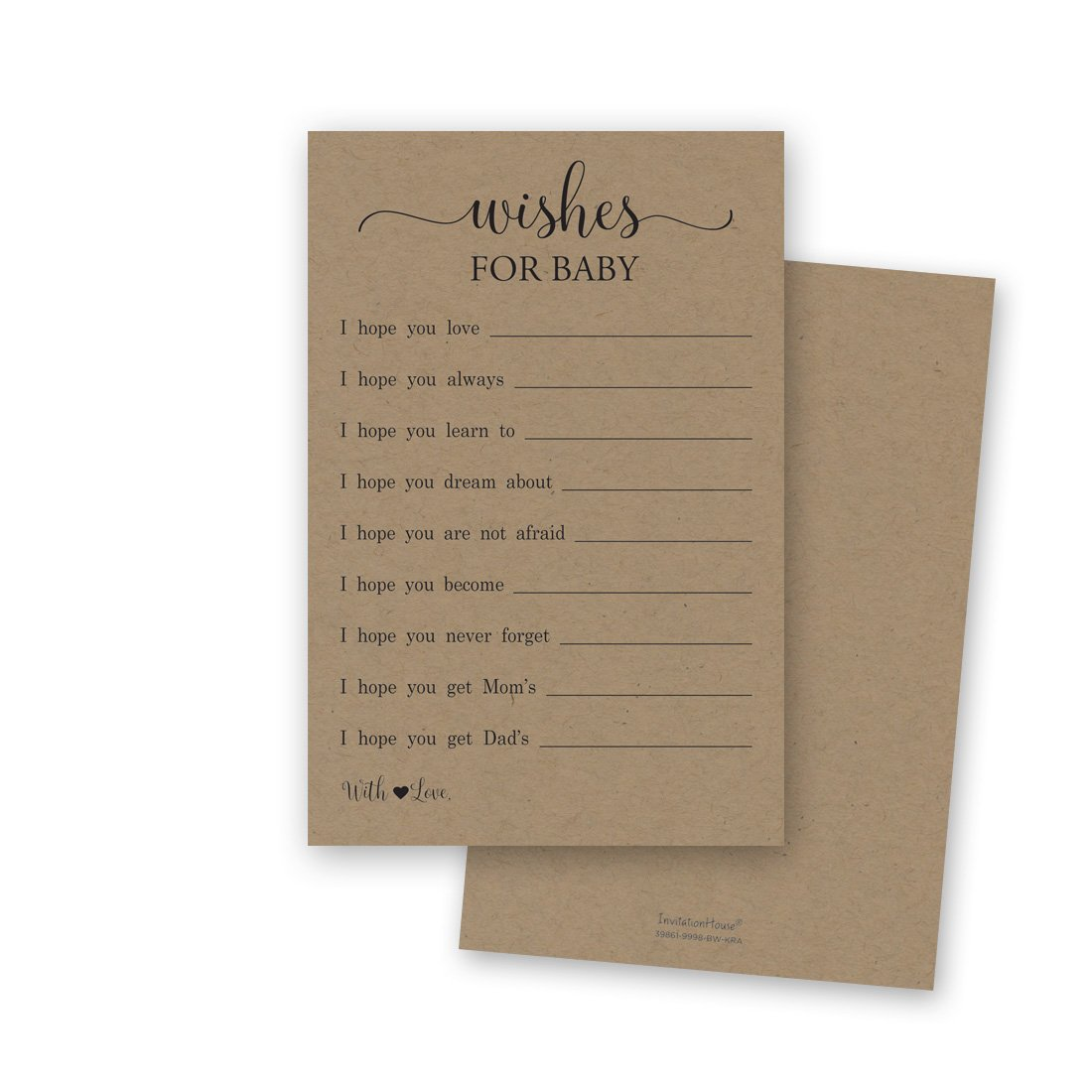 48 Rustic Kraft Wishes for Baby Cards - Well Wishes for Boy or Girl - Baby Wishes Cards