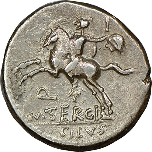 - IT 116-115 BC Ancient Roman Republic Horseman with Sword and Severed Head of Barbarian Silver Coin Coins AR Denarius Choice Very Fine NGC