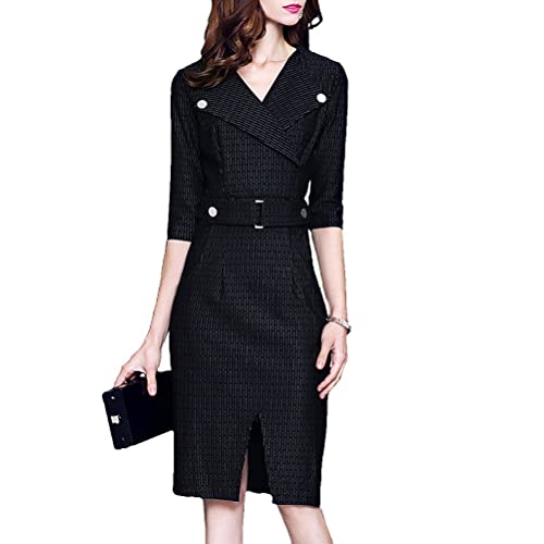 Career Pencil Dress V Neck Business Dress Female Buttocks Slim Bodycon Dress