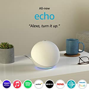 All-new Echo (4th Gen) | With premium sound, smart home hub, and Alexa | Glacier White