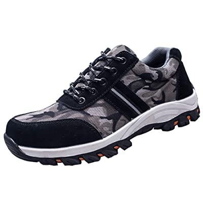 AXLCX Steel Toe Shoes Men Work Safety Shoes Hiking Shoes Lightweight Industrial & Construction Shoe Breathable Lightweight Walking Shoes Sneakers: Shoes