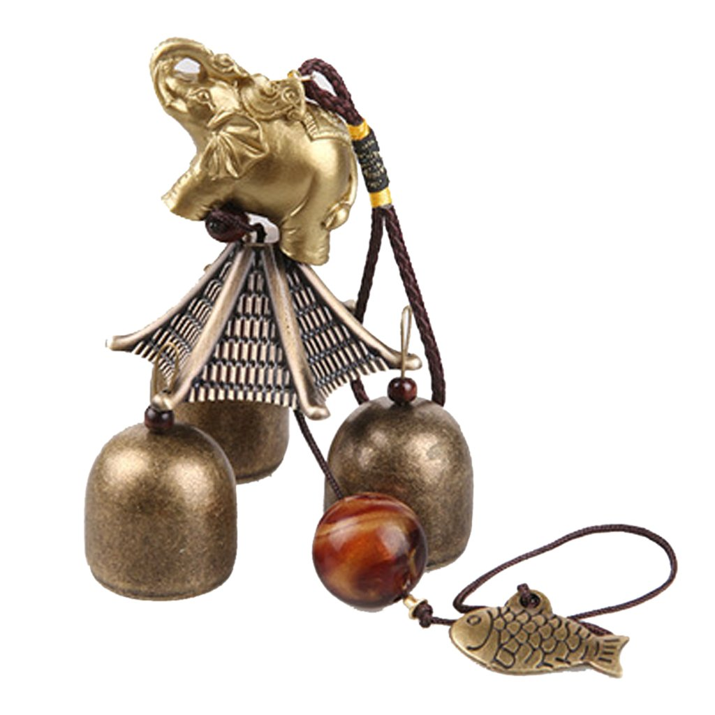 Chinese Elephant Fish Metal Bell Lucky Feng Shui Hanging Charm Wind Chime MagiDeal STK0153000996