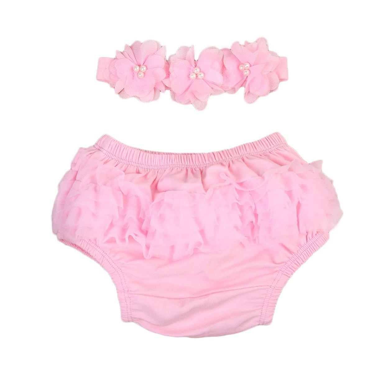 Newborn Baby Girl Bloomer Tutu Ruffle Nappy Diaper Covers Headband Outfits Set