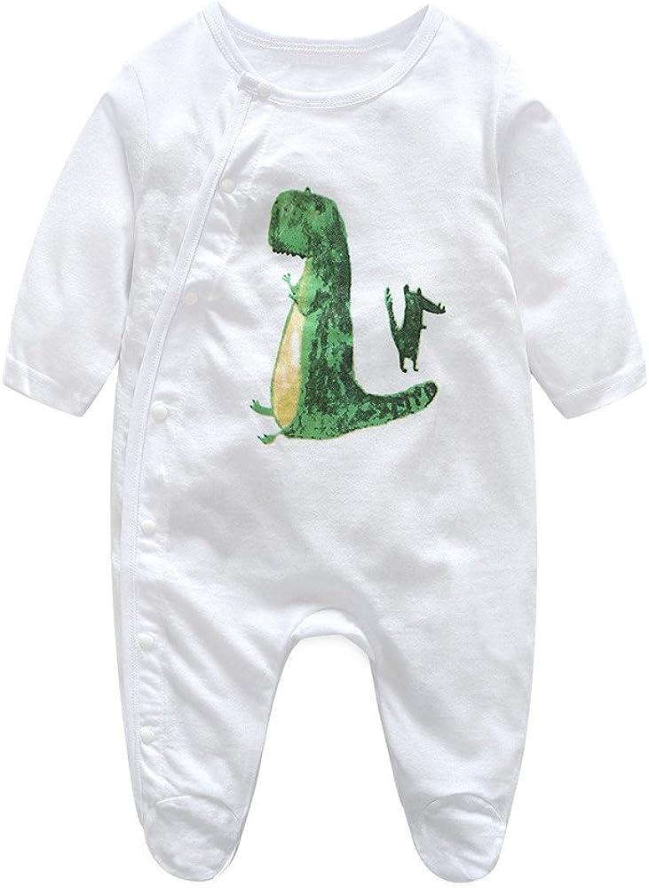 Jimmackey Neonato Bambino Manica Lunga Pagliaccetto Fumetto Tuta Dinosauro Stampa Romper