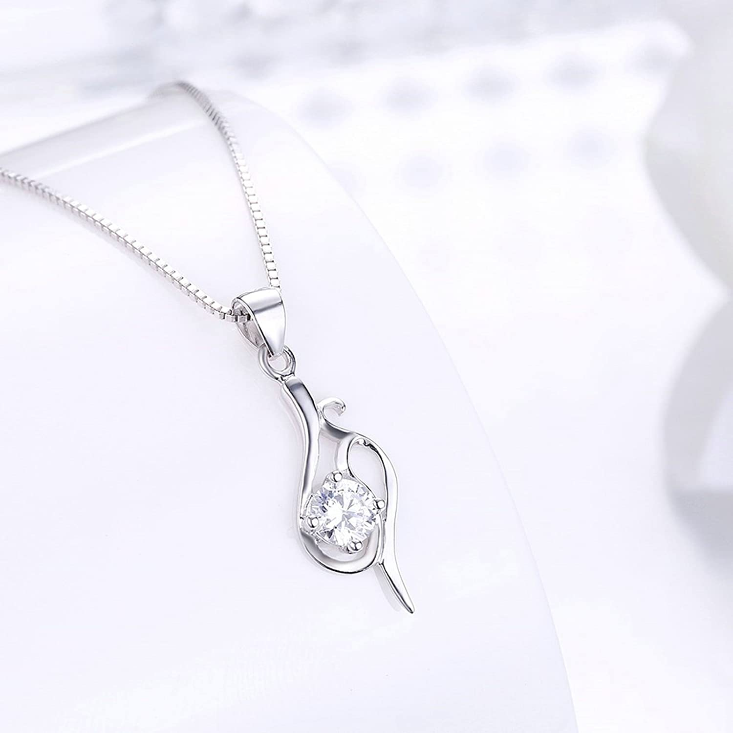 40+4CM Aokarry 925 Sterling Silver Girls Necklace Women Hollow White Chain Length