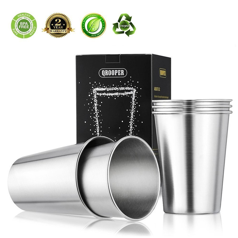 Stainless Steel Cups for Kids, Outdoor and Indoor Activities 12 Ounce Metal Drinking Glasses Unbreakable Beer Cup None BPA, Set of 4