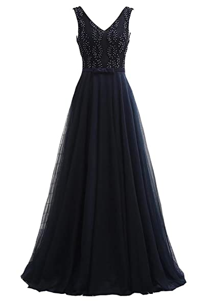 Yinyyinhs Womens Beaded V Neck Evening Dress Tulle Long Prom Gowns Size 2 Navy Blue