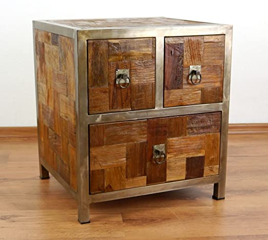 U0027Modern Industrial Designu0027 Chest Of Drawers, Bedside Table Made From Reclaimed  Teak Wood