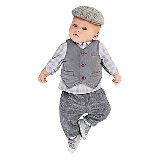 3482e83f13540 Touchme New Newborn Baby Boy Grey Waistcoat + Pants + Shirts Clothes Sets  Suit 3pcs (