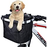 ANZOME Bike Basket, Folding Small Pet Cat Dog Carrier Front Removable Bicycle Handlebar Basket Quick Release Easy Install Det