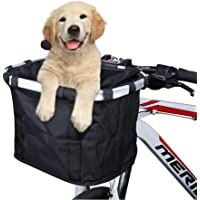 ANZOME Bike Basket, Folding Small Pet Cat Dog Carrier Front Removable Bicycle Handlebar Basket Quick Release Easy…