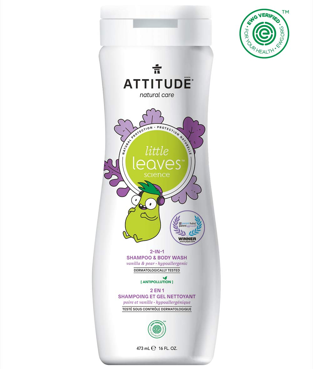 Attitude Little Leaves, Hypoallergenic & Natural 2-in-1 Shampoo & Body Wash, Vanilla & Pear, 16 Fl Oz by Attitude