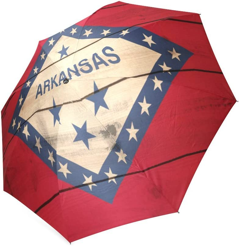 Valentines Day Gifts Presents Arkansas State Flag Compact Foldable Rainproof Windproof Travel Umbrella